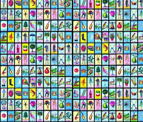 Loteria small on black fabric by jellymania on Spoonflower - custom fabric