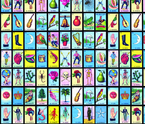 Loteria on black fabric by jellymania on Spoonflower - custom fabric
