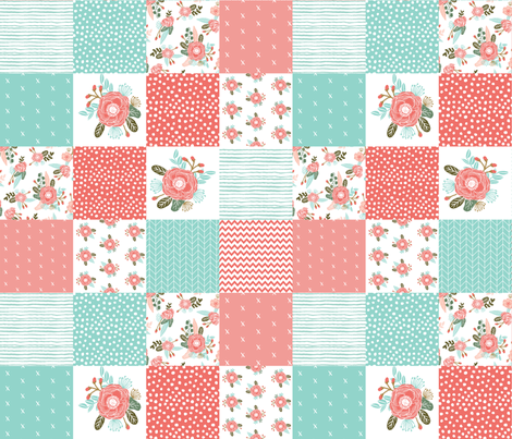 "6"" squares cute cheater quilt blossoms blooms girls sweet floral blanket baby blanket cheater quilt wholecloth girls fabric by charlottewinter on Spoonflower - custom fabric"