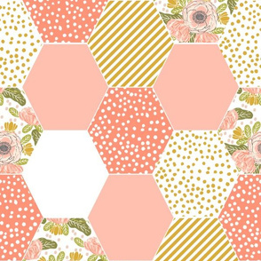 hexagon quilt hexie quilt cheater quilt quitls quilt block blossoms blooms cheater quilt baby blanket