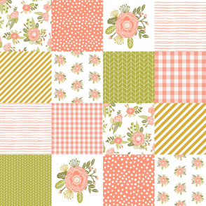 cheater quilt quilt square baby blanket blush coral floral quilt squares