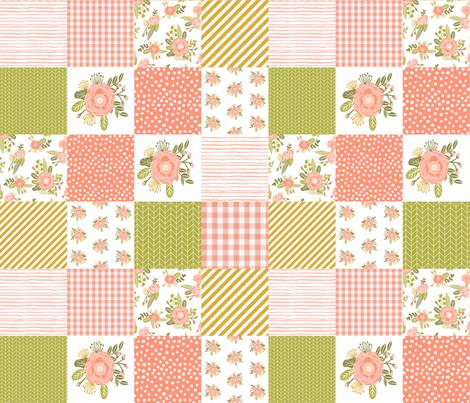3 Quot Smaller Quilt Squares Coral Blush Florals Flower Quilt