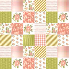 """3"""" smaller quilt squares coral blush florals flower quilt squares cheater quilt"""