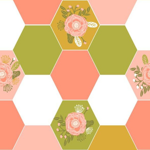 hexagon cheater quilt blush mustard coral peonies florals hexie girls cheater quilt