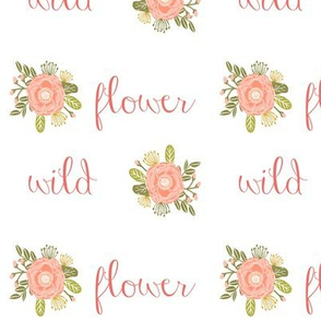 wild flower girls cheater quilt girls coral blush words wildflowers