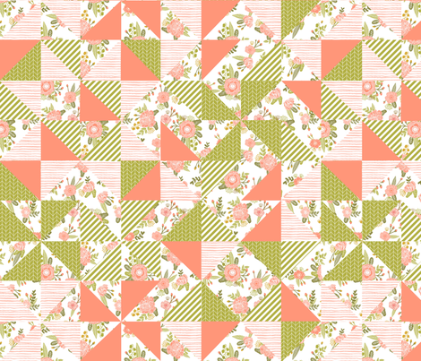 cheater quilt girls florals flower triangles quilts wholecloth baby crib sheet fabric by charlottewinter on Spoonflower - custom fabric