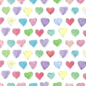 Watercolor Pastel Hearts