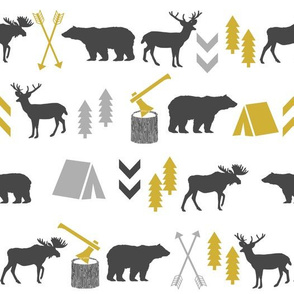 outdoors cabin deer arrows bear moose grey and mustard nursery fabric baby fabric