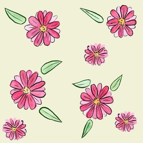 Bright Pink Floral Yellow Background