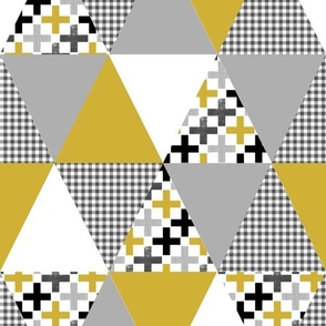 cheater quilt wholecloth triangle quilt mustard and grey cheater quilt baby