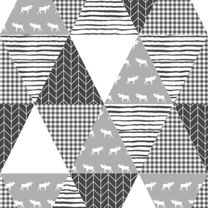 cheater quilt grey and white moose bear stripes patchwork cheater quilt stripes triangle quilt wholecloth quilt top baby quilt crib sheet