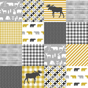 moose mustard and grey patchwork squares nursery baby quilt wholecloth quilt top nursery crib
