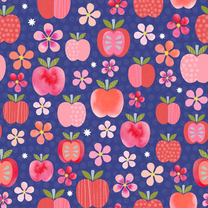 Pink Lady Apple Blossoms - Deep Blue