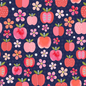 Pink Lady Apple Blossoms - Navy