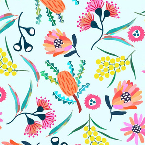 Banksia Botanical - Pale Aqua - Wallpaper