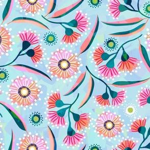 Flowering Gum - Aqua - Wallpaper
