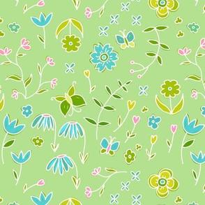 dainty flowers - spring green