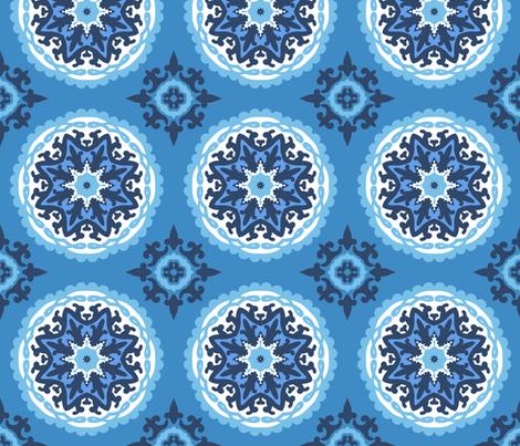 Blue suzani fabric by daria_rosen on Spoonflower - custom fabric