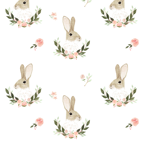 Whimsical rabbit fabric by mintpeony on Spoonflower - custom fabric