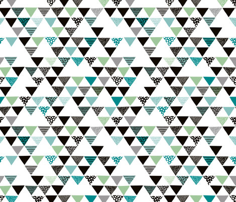 Geometric tribal aztec arrows triangle mint blue fabric by littlesmilemakers on Spoonflower - custom fabric