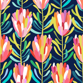 Protea-Navy-Wallpaper - large scale