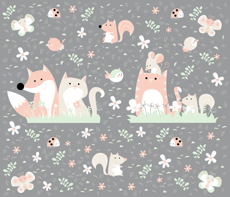 meadows friends panel fabric by gnoppoletta on Spoonflower - custom fabric