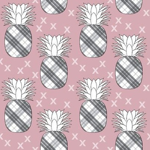 plaid pineapples on mauve