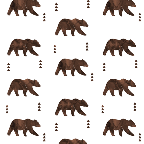 bear || watercolor brown fabric by littlearrowdesign on Spoonflower - custom fabric
