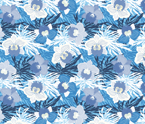 Blue orchids fabric by daria_rosen on Spoonflower - custom fabric
