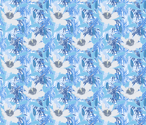 Blue tropical flowers fabric by daria_rosen on Spoonflower - custom fabric