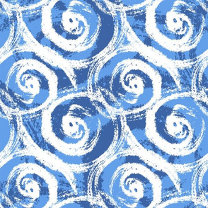 Blue abstract swirls and waves, nautical design
