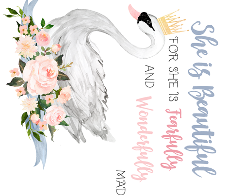 """42"""" Swan with Roses and Quote for 2 Yards fabric by shopcabin on Spoonflower - custom fabric"""