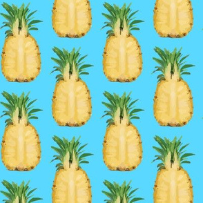 16-13R Tropical Pineapple Fruit Food Summer Gold Yellow Blue_Miss Chiff Designs