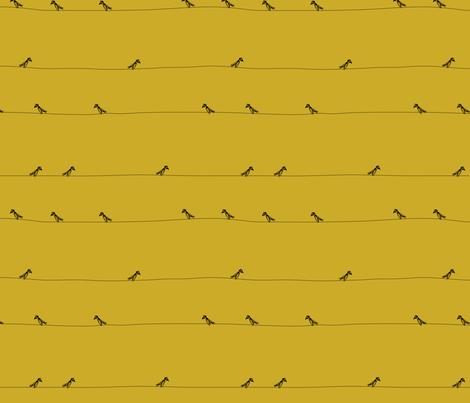 Birds black on ochre fabric by igotstripes_studio on Spoonflower - custom fabric