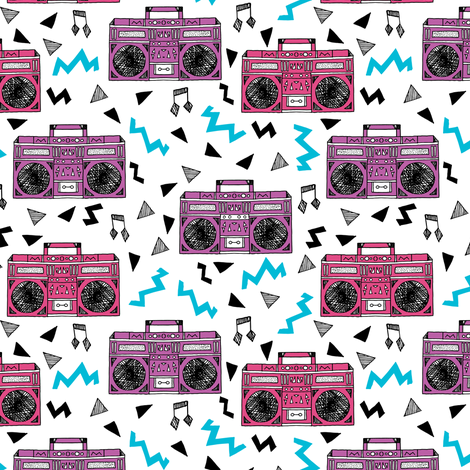 80s boombox // pink and purple girls design 80s fabric music print music fabric cassettes 90s design fabric by andrea_lauren on Spoonflower - custom fabric