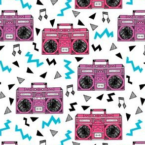 80s boombox // pink and purple girls design 80s fabric music print music fabric cassettes 90s design