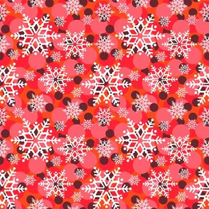 snowflakes in reds