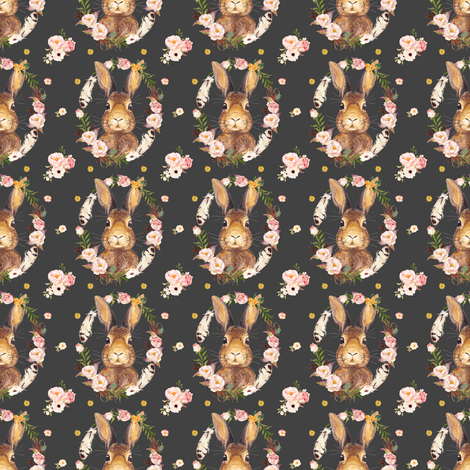 "Some Bunny Loves Me - Grey 2"" fabric by shopcabin on Spoonflower - custom fabric"