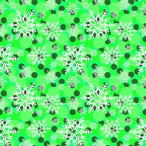 snowflakes in green