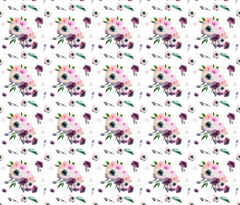"8.5"" Dark Floral Print in White  fabric by shopcabin on Spoonflower - custom fabric"