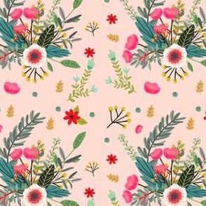 Boho Floral Black Background Fabric