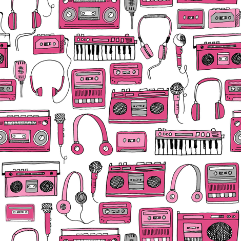 80s music // keyboards headphones cassettes cassette tape player fabric 80s fabric fabric by andrea_lauren on Spoonflower - custom fabric