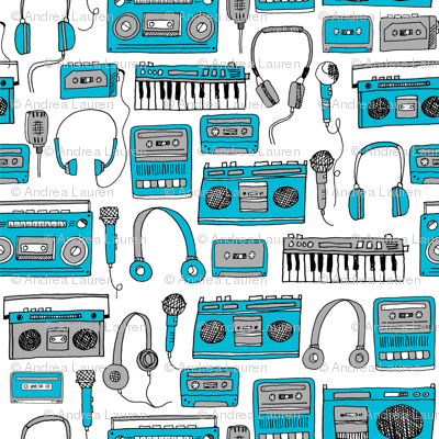 80s music //cassette cassettes fabric keyboards headphones tape players blue grey 80s throwback print