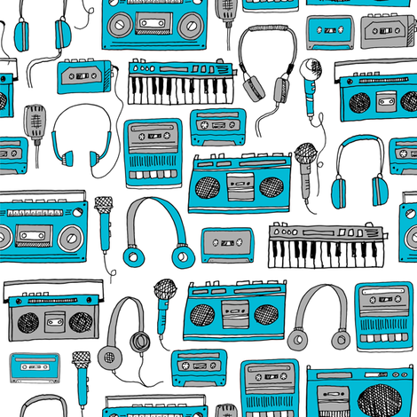 80s music //cassette cassettes fabric keyboards headphones tape players blue grey 80s throwback print fabric by andrea_lauren on Spoonflower - custom fabric