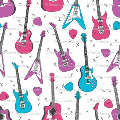 guitar // guitars electric guitars, girls fabric, 80s fabric, music design andrea lauren
