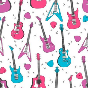 guitar // guitars electric guitars, girls fabric, 80s fabric, music design andrea lauren