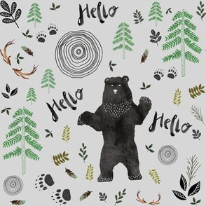 Hello Woodland Watercolor Bear - Gray