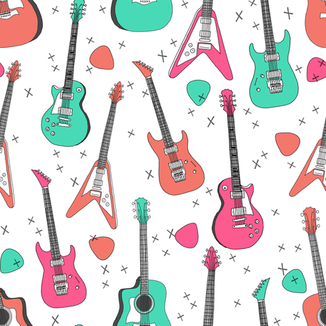 guitars // electric guitars girls music 80s fabric rock band design print andrea lauren fabric fabric by andrea_lauren on Spoonflower - custom fabric