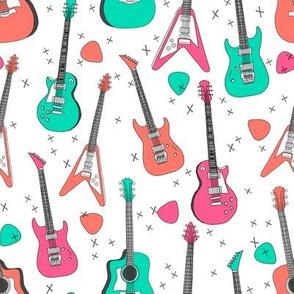 guitars // electric guitars girls music 80s fabric rock band design print andrea lauren fabric