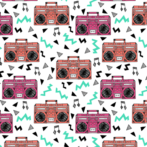 80s boombox // boombox fabric 80s fabric 90s fabric girls trendy music fabric by andrea lauren fabric by andrea_lauren on Spoonflower - custom fabric